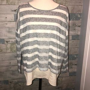 Gianni Bini Grey and White Striped Knit Top  A20
